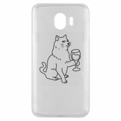 Чохол для Samsung J4 Cat with a glass of wine