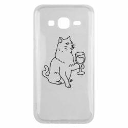 Чохол для Samsung J5 2015 Cat with a glass of wine