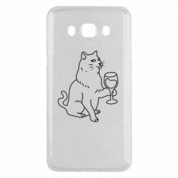 Чохол для Samsung J5 2016 Cat with a glass of wine