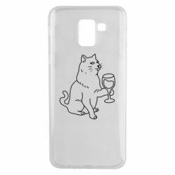 Чохол для Samsung J6 Cat with a glass of wine