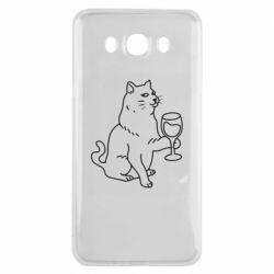 Чохол для Samsung J7 2016 Cat with a glass of wine