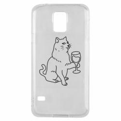 Чохол для Samsung S5 Cat with a glass of wine