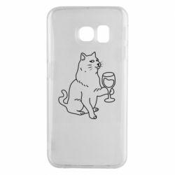Чохол для Samsung S6 EDGE Cat with a glass of wine