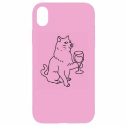 Чохол для iPhone XR Cat with a glass of wine