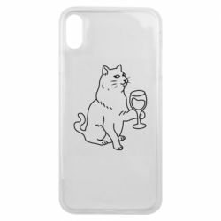 Чохол для iPhone Xs Max Cat with a glass of wine