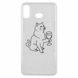 Чохол для Samsung A6s Cat with a glass of wine