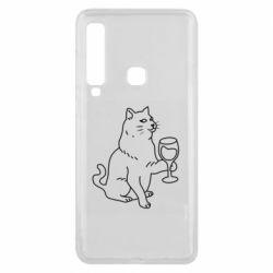 Чохол для Samsung A9 2018 Cat with a glass of wine
