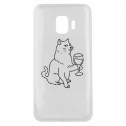 Чохол для Samsung J2 Core Cat with a glass of wine