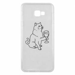 Чохол для Samsung J4 Plus 2018 Cat with a glass of wine
