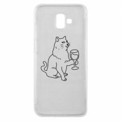 Чохол для Samsung J6 Plus 2018 Cat with a glass of wine