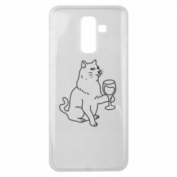 Чохол для Samsung J8 2018 Cat with a glass of wine
