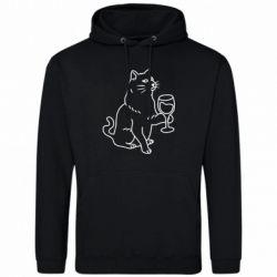 Чоловіча толстовка Cat with a glass of wine