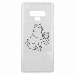Чохол для Samsung Note 9 Cat with a glass of wine