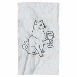 Рушник Cat with a glass of wine