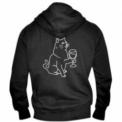 Чоловіча толстовка на блискавці Cat with a glass of wine
