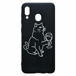 Чохол для Samsung A20 Cat with a glass of wine