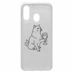 Чохол для Samsung A40 Cat with a glass of wine