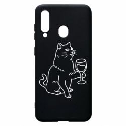 Чохол для Samsung A60 Cat with a glass of wine