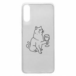 Чохол для Samsung A70 Cat with a glass of wine