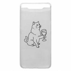 Чохол для Samsung A80 Cat with a glass of wine