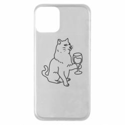 Чохол для iPhone 11 Cat with a glass of wine