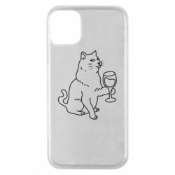 Чохол для iPhone 11 Pro Cat with a glass of wine