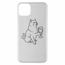 Чохол для iPhone 11 Pro Max Cat with a glass of wine