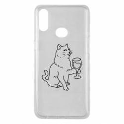 Чохол для Samsung A10s Cat with a glass of wine