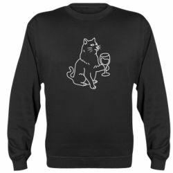 Реглан (світшот) Cat with a glass of wine