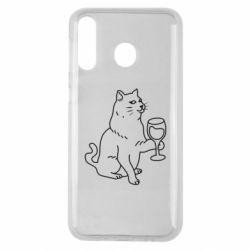 Чохол для Samsung M30 Cat with a glass of wine