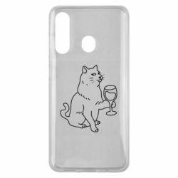 Чохол для Samsung M40 Cat with a glass of wine