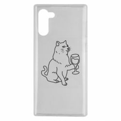 Чохол для Samsung Note 10 Cat with a glass of wine