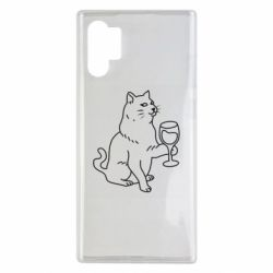 Чохол для Samsung Note 10 Plus Cat with a glass of wine