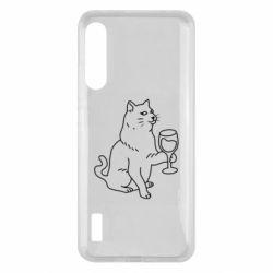 Чохол для Xiaomi Mi A3 Cat with a glass of wine