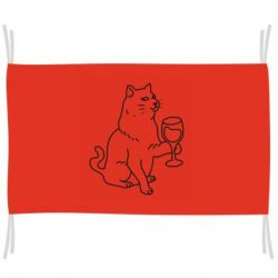 Прапор Cat with a glass of wine