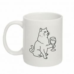 Кружка 320ml Cat with a glass of wine