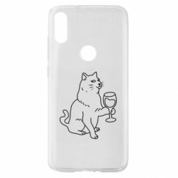 Чохол для Xiaomi Mi Play Cat with a glass of wine