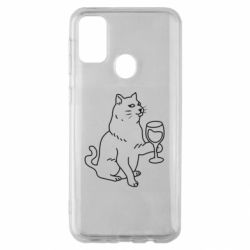 Чохол для Samsung M30s Cat with a glass of wine
