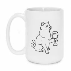 Кружка 420ml Cat with a glass of wine