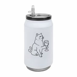 Термобанка 350ml Cat with a glass of wine