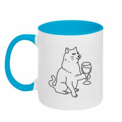 Кружка двоколірна 320ml Cat with a glass of wine