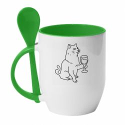 Кружка з керамічною ложкою Cat with a glass of wine