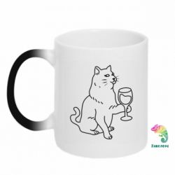 Кружка-хамелеон Cat with a glass of wine