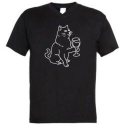 Чоловіча футболка з V-подібним вирізом Cat with a glass of wine