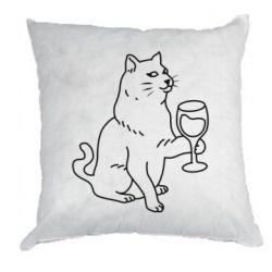 Подушка Cat with a glass of wine