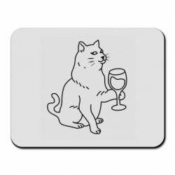 Килимок для миші Cat with a glass of wine
