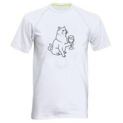 Чоловіча спортивна футболка Cat with a glass of wine