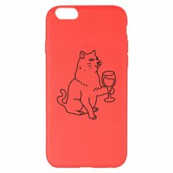 Чохол для iPhone 6 Plus/6S Plus Cat with a glass of wine