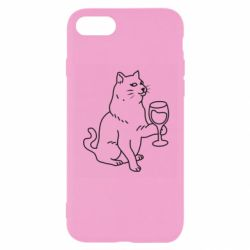 Чохол для iPhone 7 Cat with a glass of wine