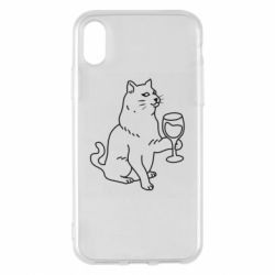 Чохол для iPhone X/Xs Cat with a glass of wine